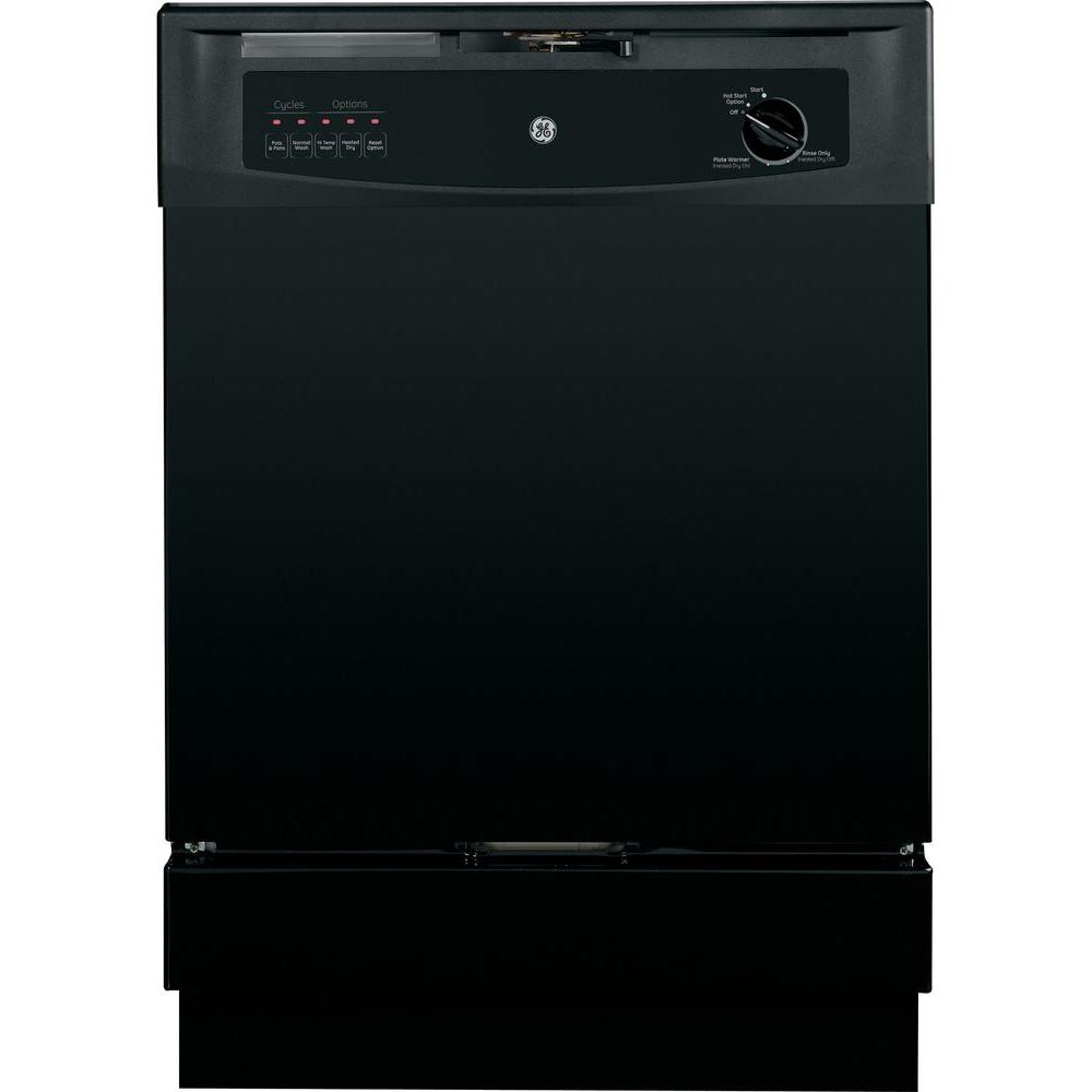 GE Built-In Front Control Dishwasher in Black GE appliances provide up-to-date technology and exceptional quality to simplify the way you live. With a timeless appearance, this family of appliances is ideal for your family. And, coming from one of the most trusted names in America, you know that this entire selection of appliances is as advanced as it is practical. Color: Black.