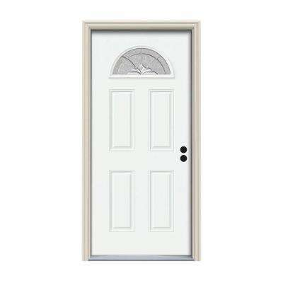 36 in. x 80 in. Fan Lite Langford White Painted Steel Prehung Left-Hand Inswing Front Door w/Brickmould