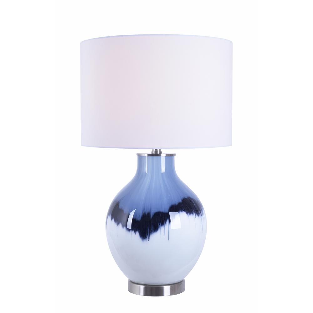 Eleanor 25.5 in. White and Blue Table Lamp with White Fabric