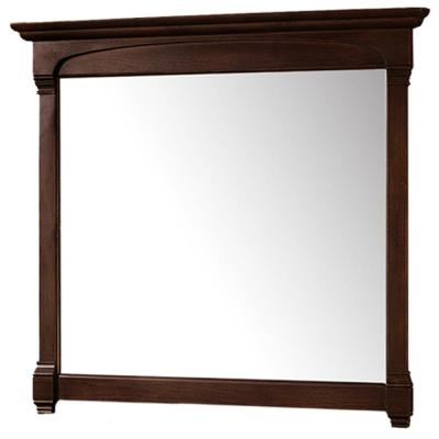 Andover 44 in. W x 41.25 in. H Framed Wall Mirror in Dark Cherry