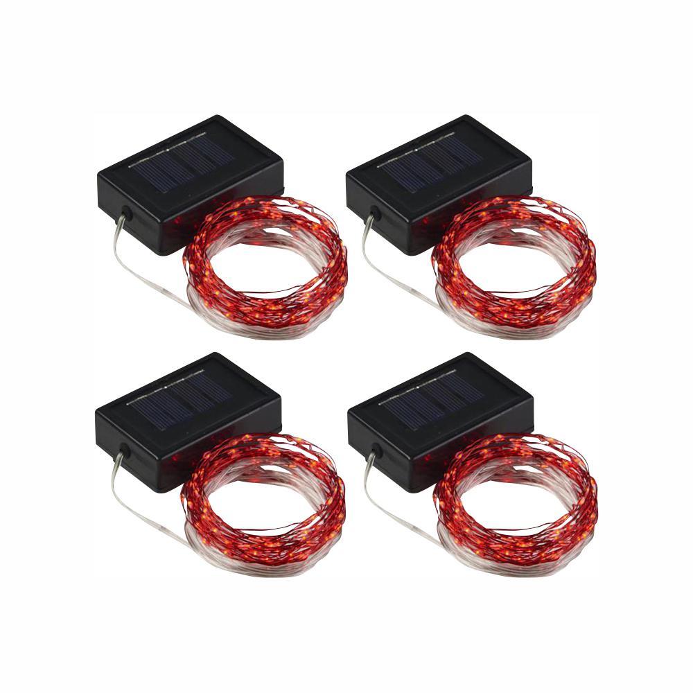 100-Light 20 ft.  Red Solar Integrated LED String Light (4-Pack)