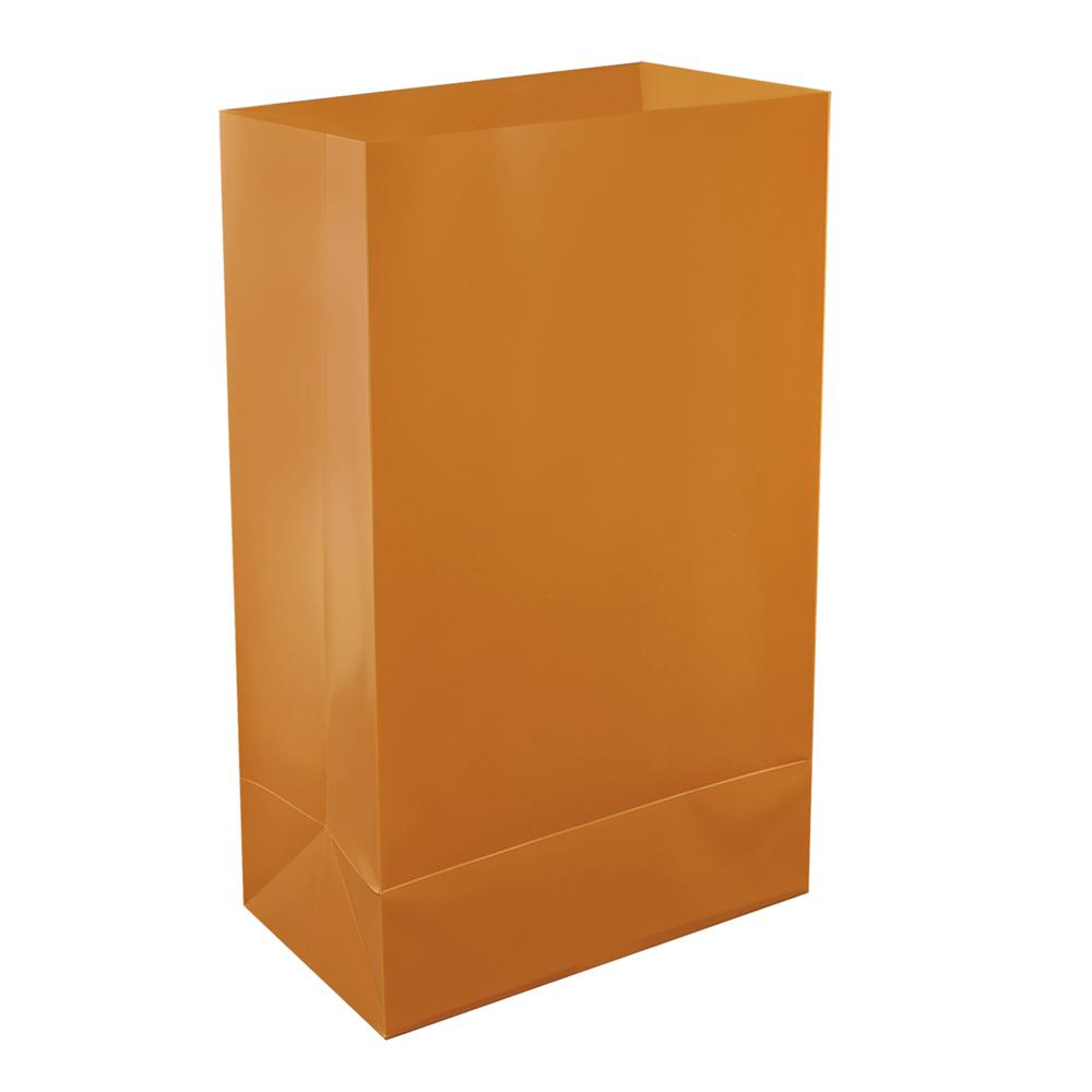 Lumabase Plastic Tan Luminaria Bags (12-Count), Brown/Tan