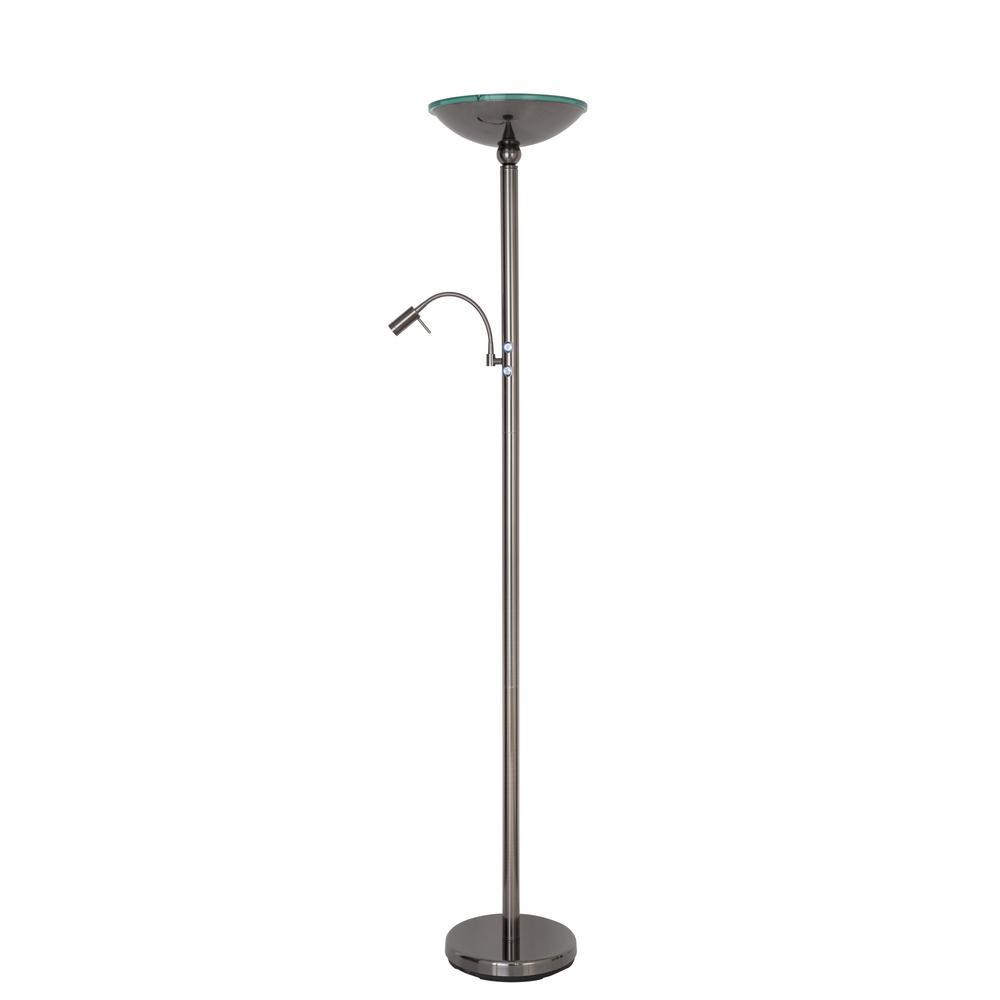 Black Brushed Steel Floor Lamp With Reading Light