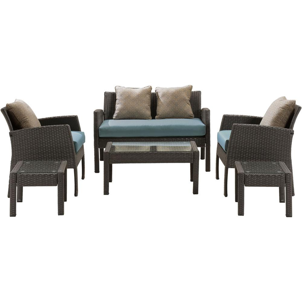 Sophie 6-Piece Wicker Patio Seating Set with Aegean Sea Cushions