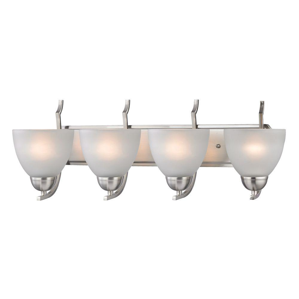 Titan Lighting 4-Light Wall Mount Brushed Nickel Bath Bar