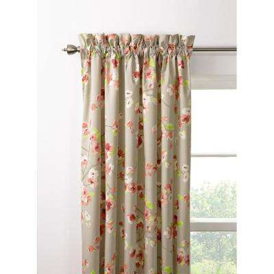 Semi-Opaque Hana 84 in. L Pink/Grey Drapery Panel