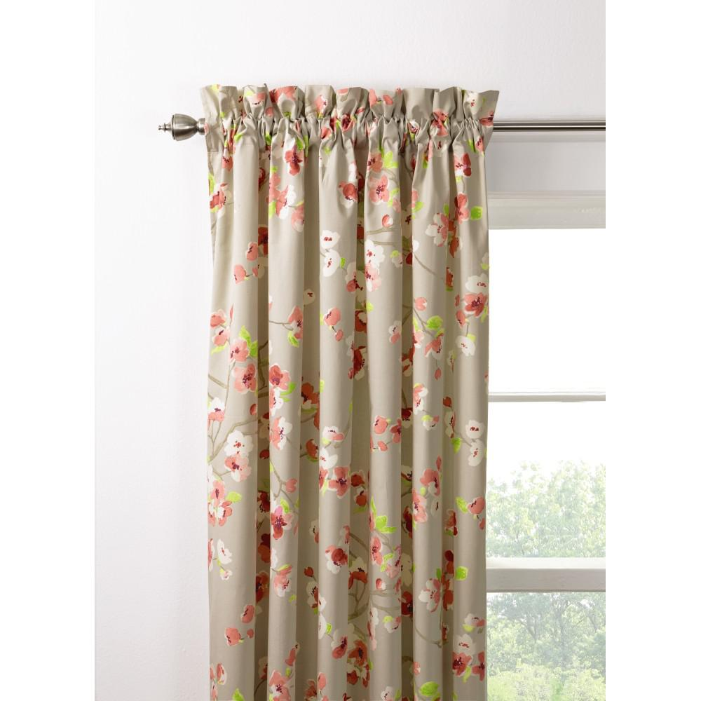 Home Decorators Collection Semi-Opaque Hana 108 in. L Pink/Grey Drapery Panel