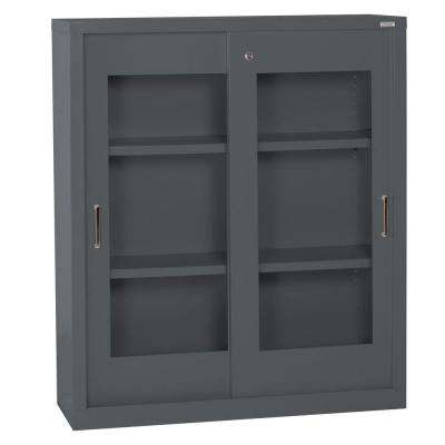 42 in. H x 36 in. W x 18 in. D Freestanding Clear View Sliding Door Steel Cabinet in Charcoal