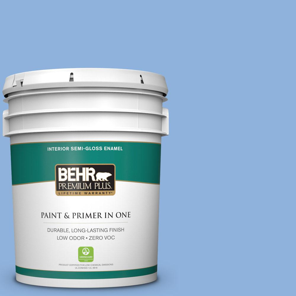 5-gal. #580B-5 Cornflower Blue Zero VOC Semi-Gloss Enamel Interior Paint
