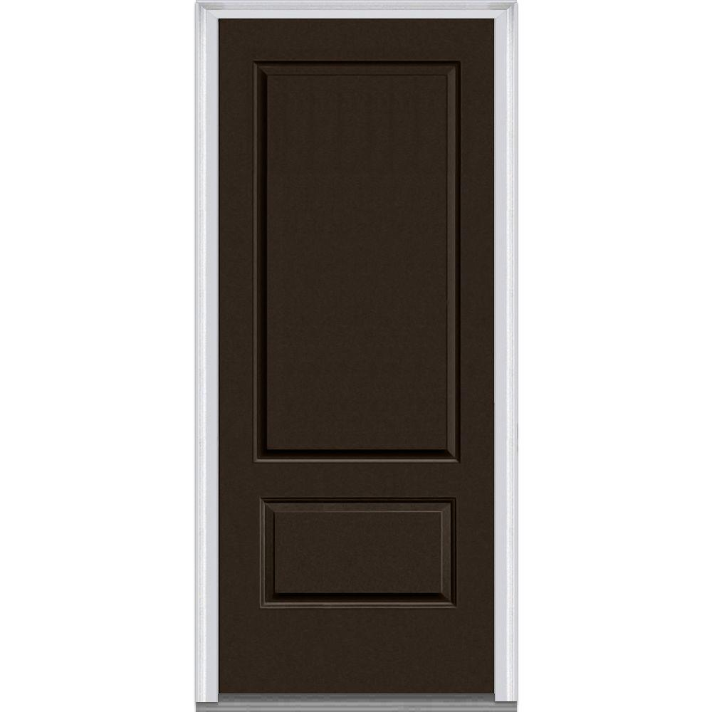 Mmi door 36 in x 80 in left hand inswing 2 panel classic for Prehung exterior doors with storm door