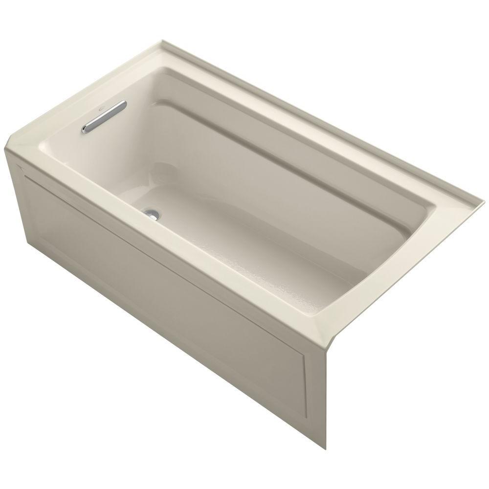 Archer 5 ft. Acrylic Left Hand Drain Farmhouse Rectangular Apron-Front Non-Whirlpool Bathtub in Almond