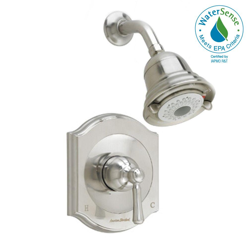 Portsmouth 1-Handle Shower Faucet Trim Kit with Square Escutcheon in Brushed