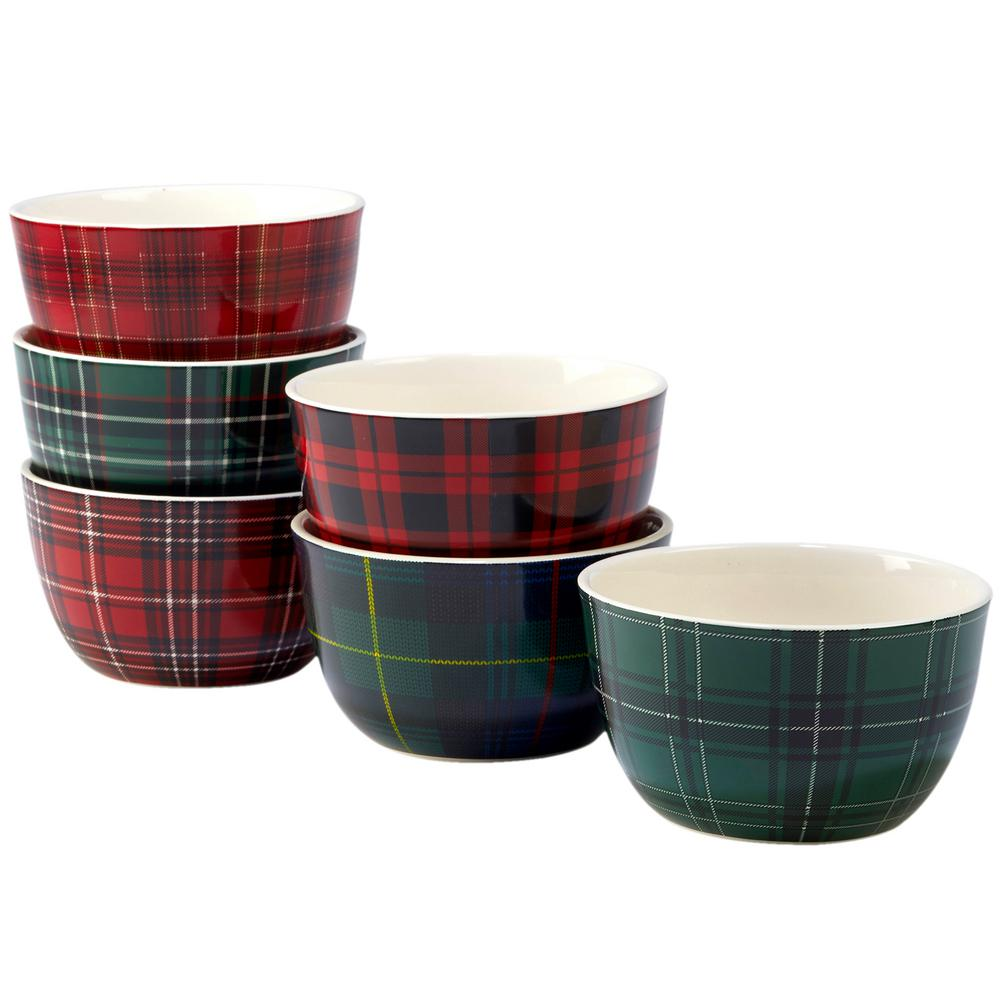 Christmas Plaid 5.5 in. Ice Cream Bowl (Set of 6)