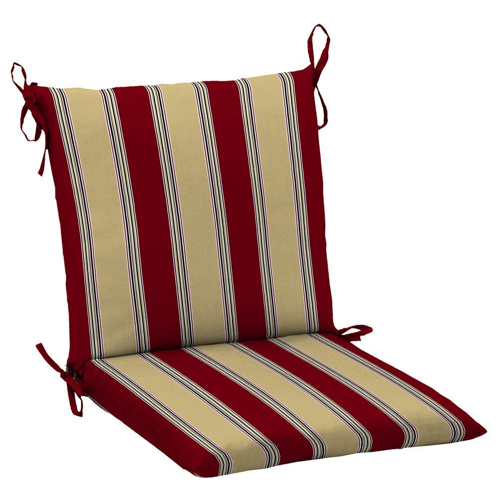 Hampton Bay New Chili Stripe Mid Back Outdoor Chair Cushion-DISCONTINUED