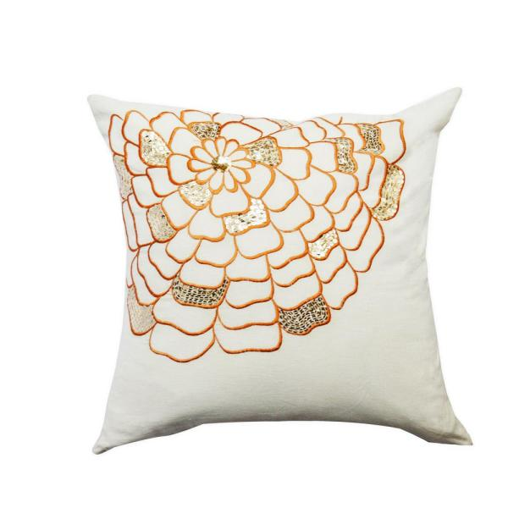 A1HC Celebration Floral Pillow 100% White and Orange Cotton Decorative Pillow
