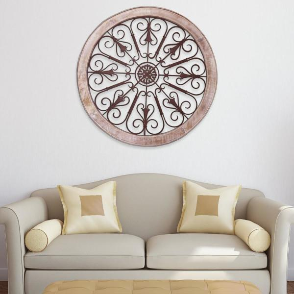Benzara Cream and Brown Round Metal Scroll Work Wall Decor with