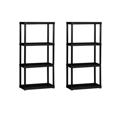 4 Shelf Tier Light Duty Indoor and Garage Shelf Black (2 Pack)