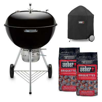26 in. Original Kettle Premium Charcoal Grill in Black Combo with Grill Cover and 2-Bags of Weber Briquettes