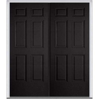60 in. x 80 in. Classic Left-Hand Inswing 6-Panel Painted Fiberglass Smooth Prehung Front Door with Brickmould