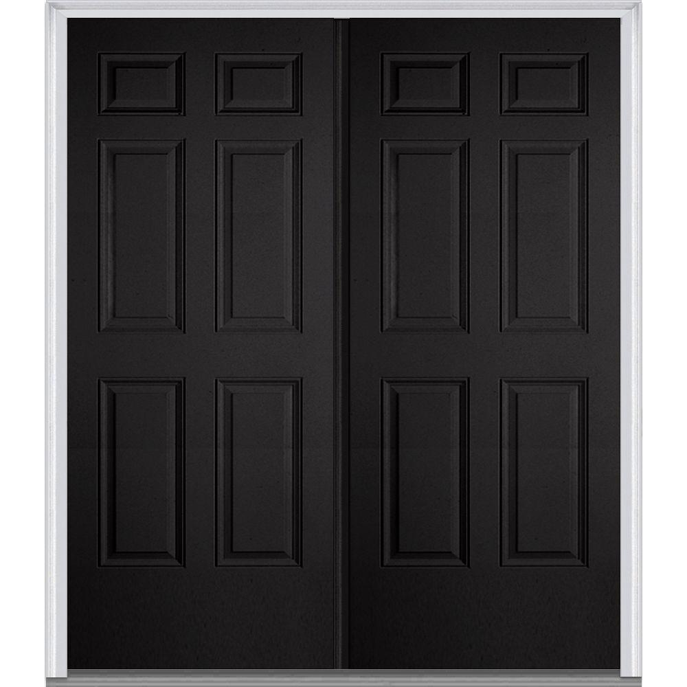 MMI Door 60 in. x 80 in. Classic Right-Hand Inswing 6-Panel Painted Fiberglass Smooth Prehung Front Door with Brickmould