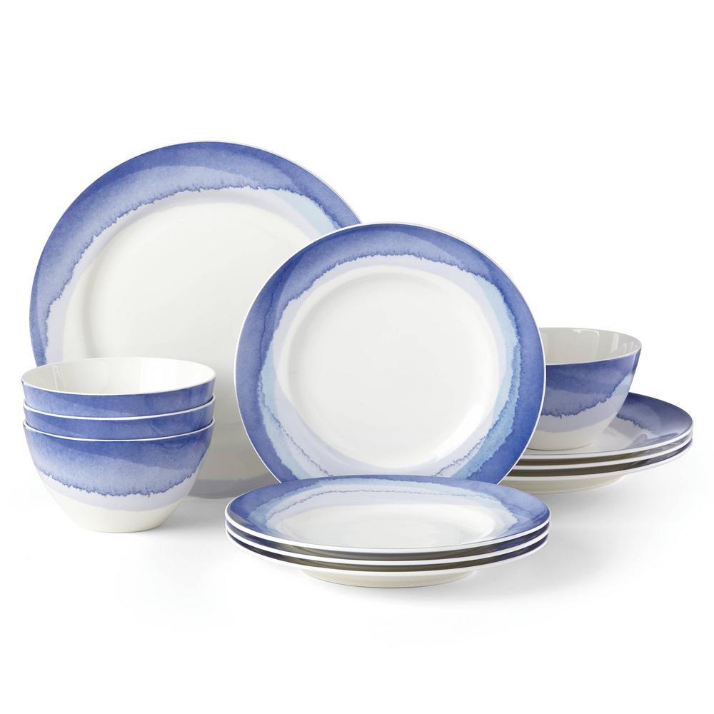 Indigo Watercolor Stripe 12-Piece Contemporary Indigo Stripe Porcelain Dinnerware Set (Service for 4)