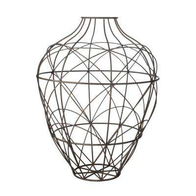 Russet Wire 20 in. Metal Decorative Vase in Brown