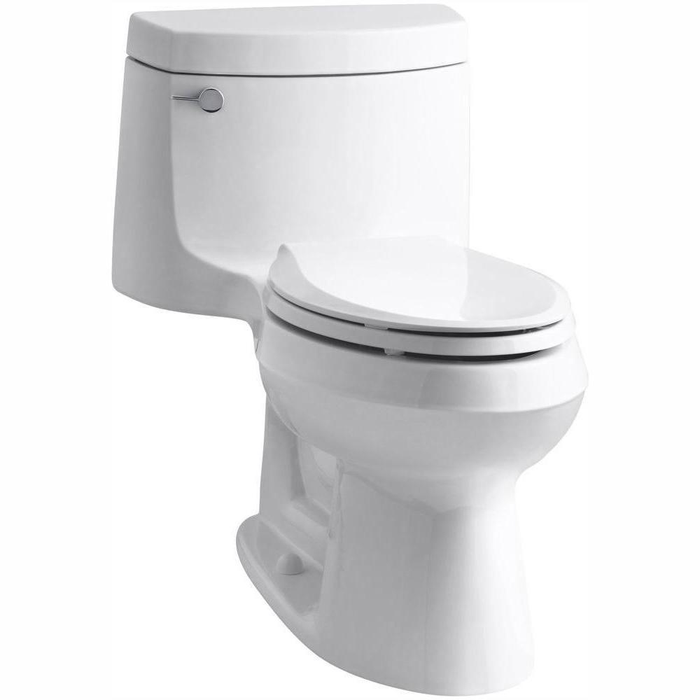 KOHLER Cimarron 1-piece 1.28 GPF Single Flush Elongated Toilet with AquaPiston Flush Technology in White, Seat Included