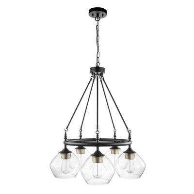 Harrow 5-Light Matte Black Chandelier with Gold Accent Sockets and Clear Glass Shades