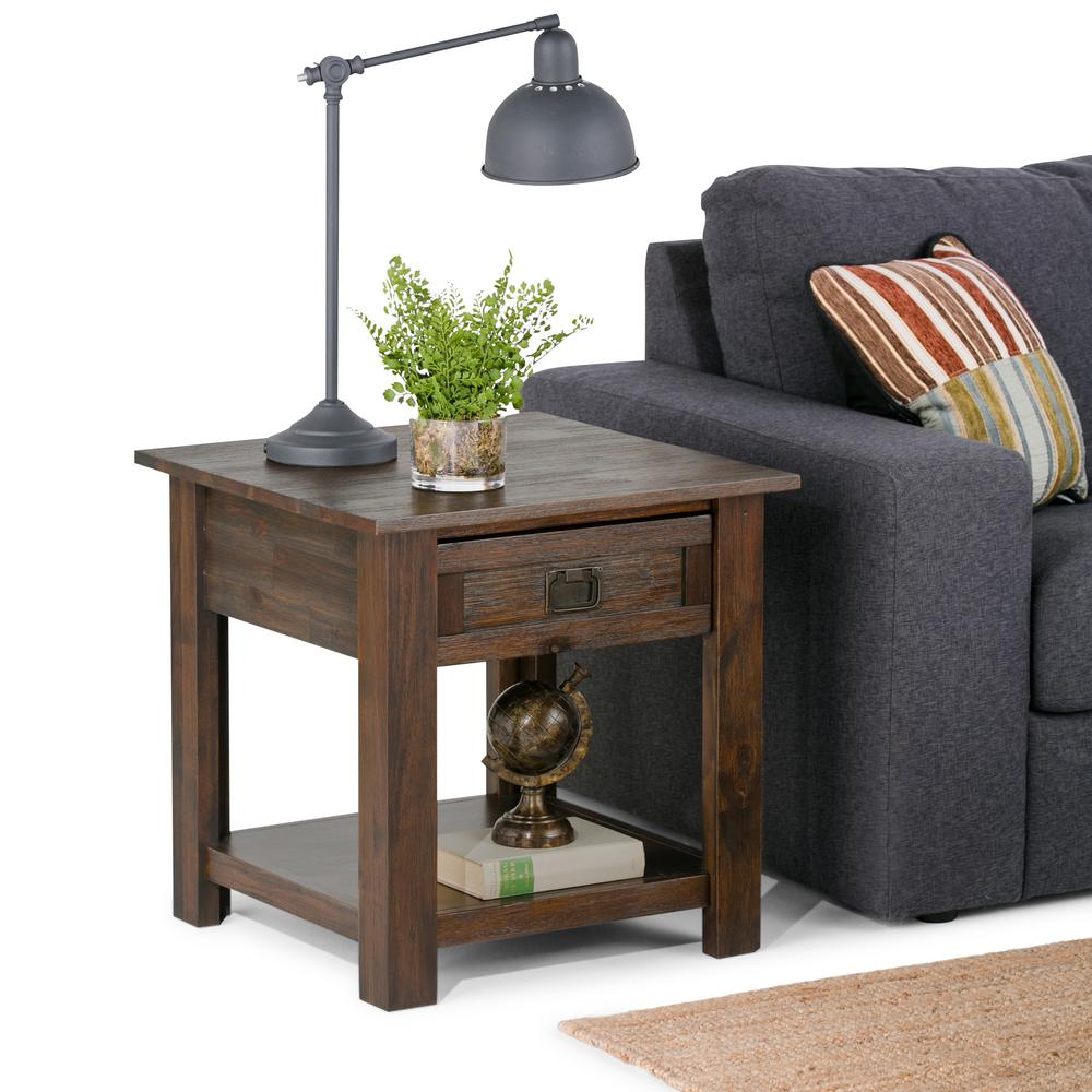 Simpli Home Monroe Distressed Charcoal Brown Storage End