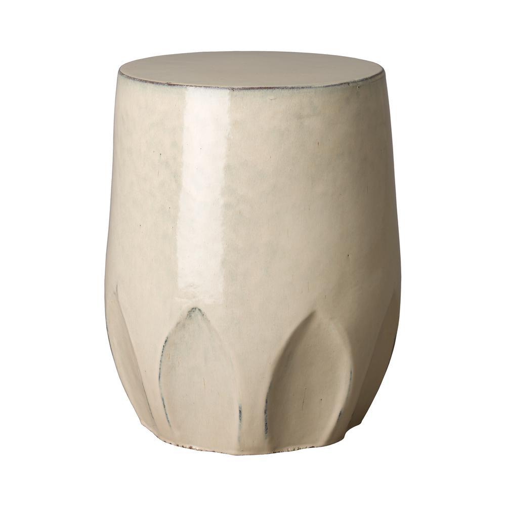 18 in. Calyx Beige Cream Ceramic Indoor/Outdoor Garden Stool