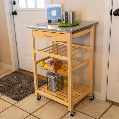Vernon Natural Kitchen Cart with 1-Drawer and Marble Top