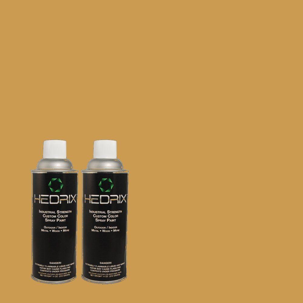 Hedrix 11 oz. Match of 330D-6 Townhouse Tan Semi-Gloss Custom Spray Paint (2-Pack)