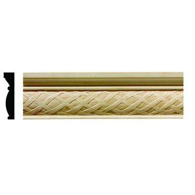 1617 1/2 in. x 2-1/4 in. x 6 in. Hardwood White Unfinished Loose Weave Large Chair Rail Moulding Sample