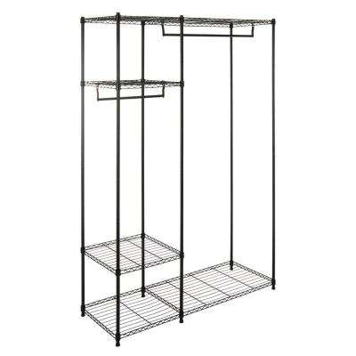 Katherine 47 in. 24 in. W x 78.7 in. H Chrome Carbon Steel Double-Bar Garment Rack and Shelving Unit