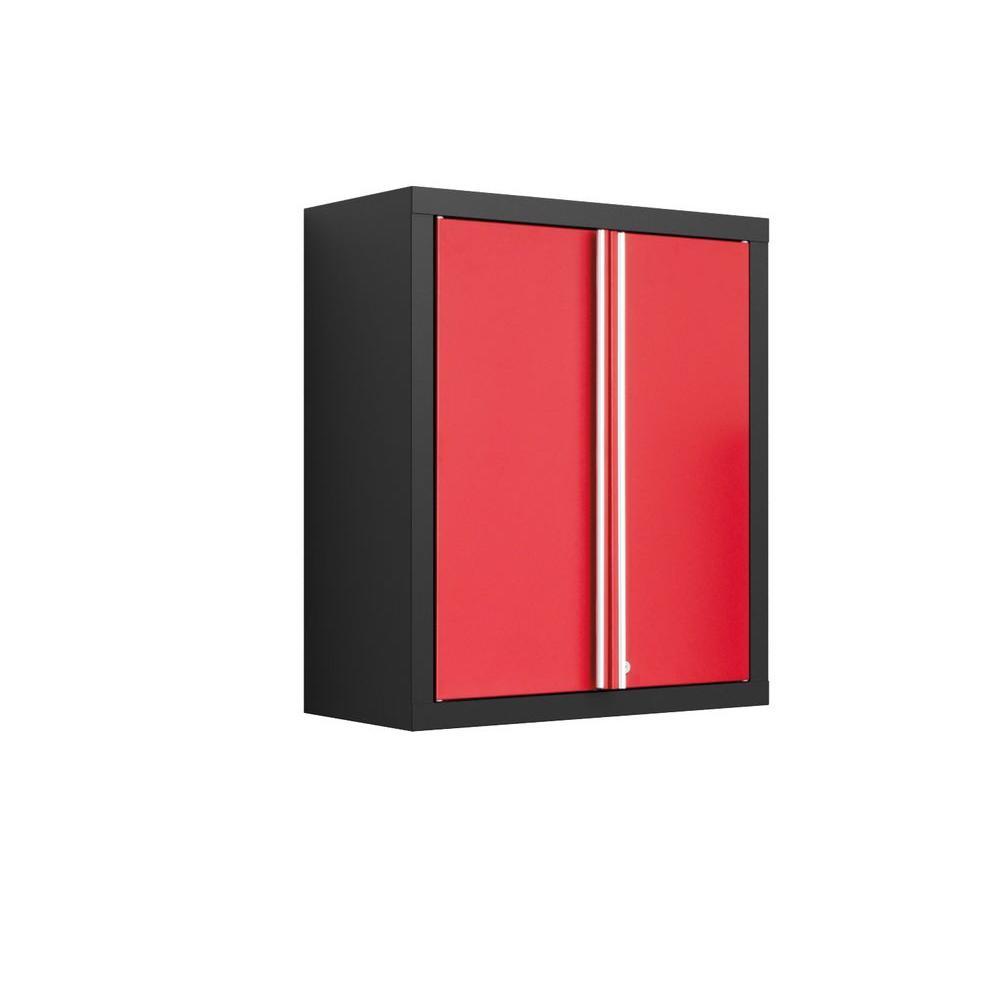 NewAge Products Bold Series 30 in. H x 26 in. W x 12 in. D 2-Door 24-Gauge Welded Steel Wall Garage Cabinet in Red/Black