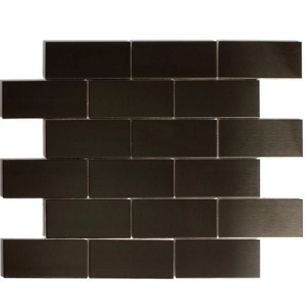 ABOLOS Mosaic 2'' x 4'' Rectabgle Bronze Stainless Steel Peel &