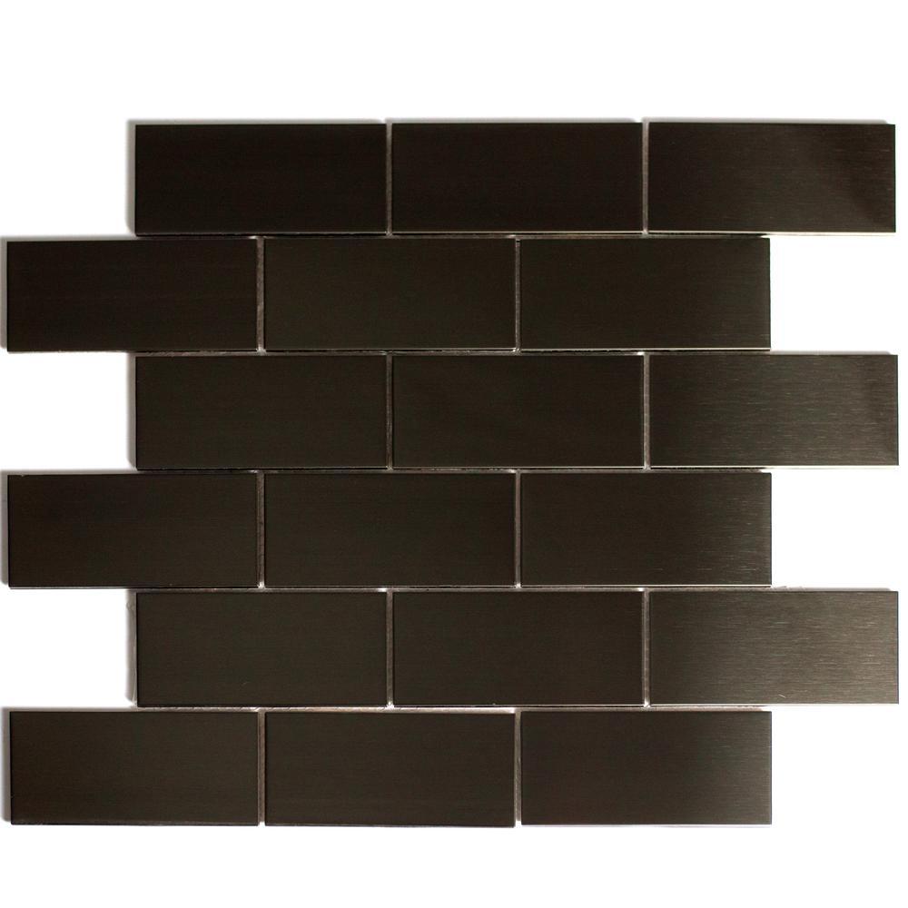 "ABOLOS Mosaic 2"" x 4"" Rectabgle Bronze Stainless Steel Peel & Stick Decorative Bathroom Wall Tile Backsplash (14 Sq. ft./Case)"