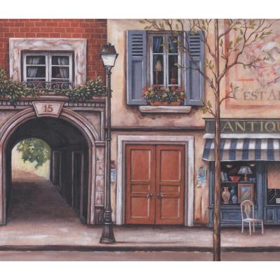 Vintage French Street Shops Extra Wide Prepasted Wallpaper Border