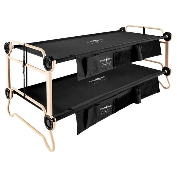 XL Black Portable Adjustable Bunk Bed Camping Bed with 2 Side Organizers
