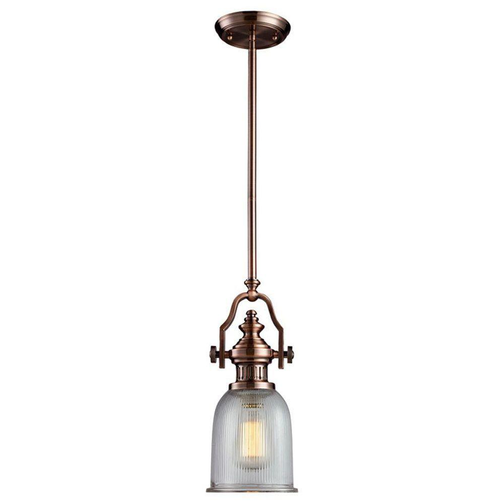 Titan Lighting Chadwick 1-Light Antique Copper Ceiling