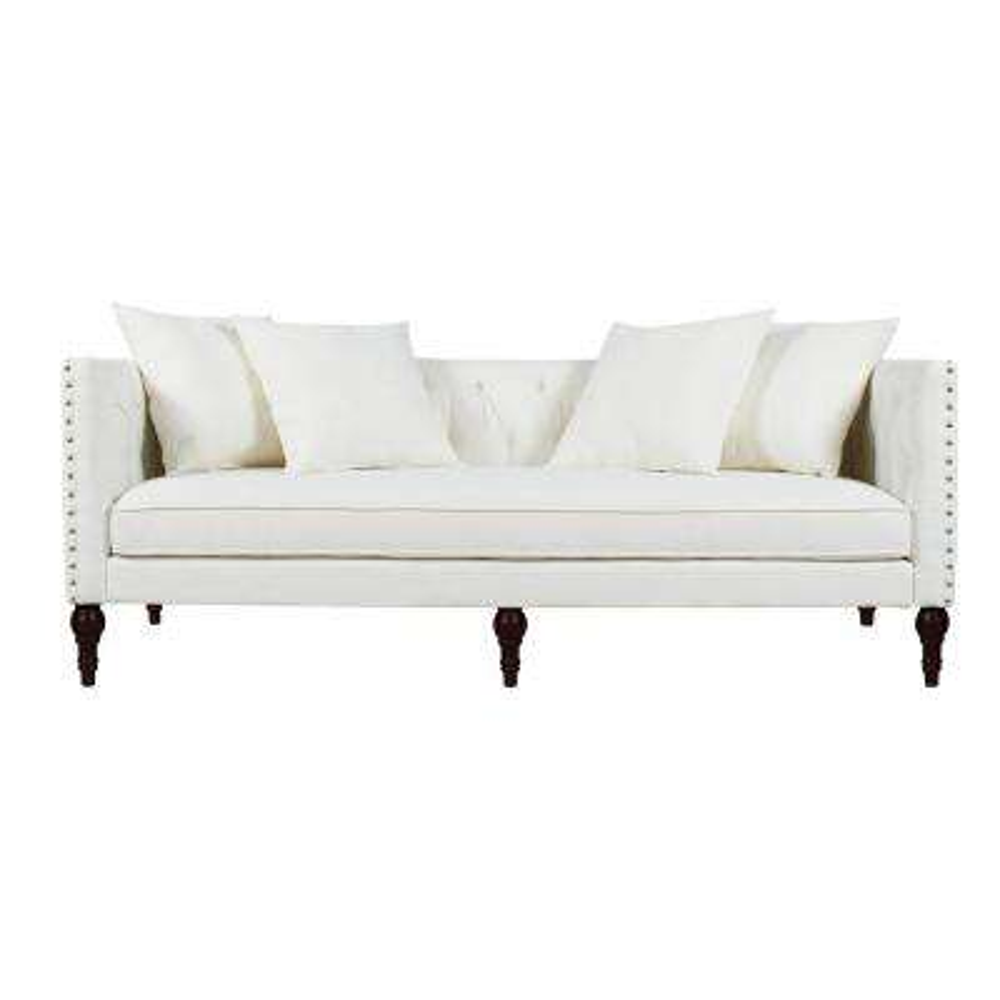 4 People White Fabric Sofas Loveseats Living Room