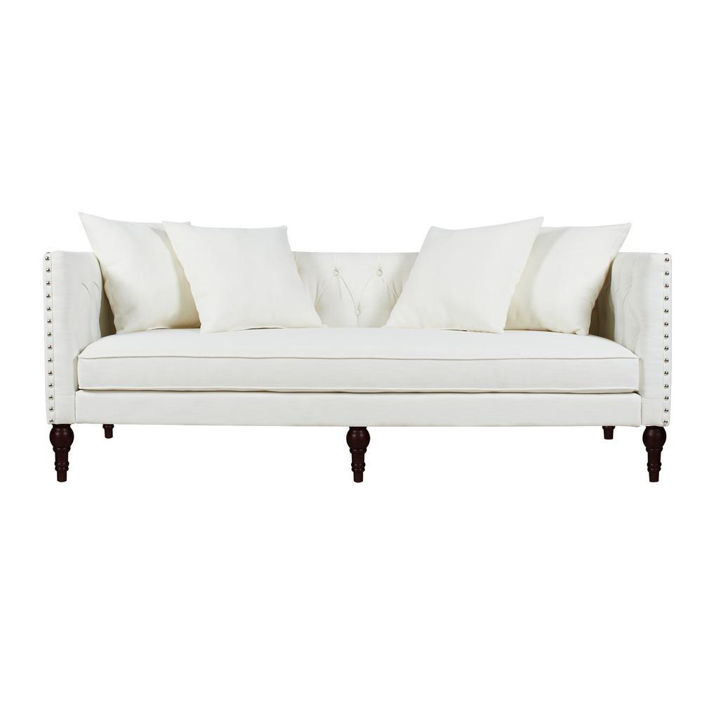 Stanbury 82.5 in. Antique White Linen 3-Seater Tuxedo Sofa with Nailheads