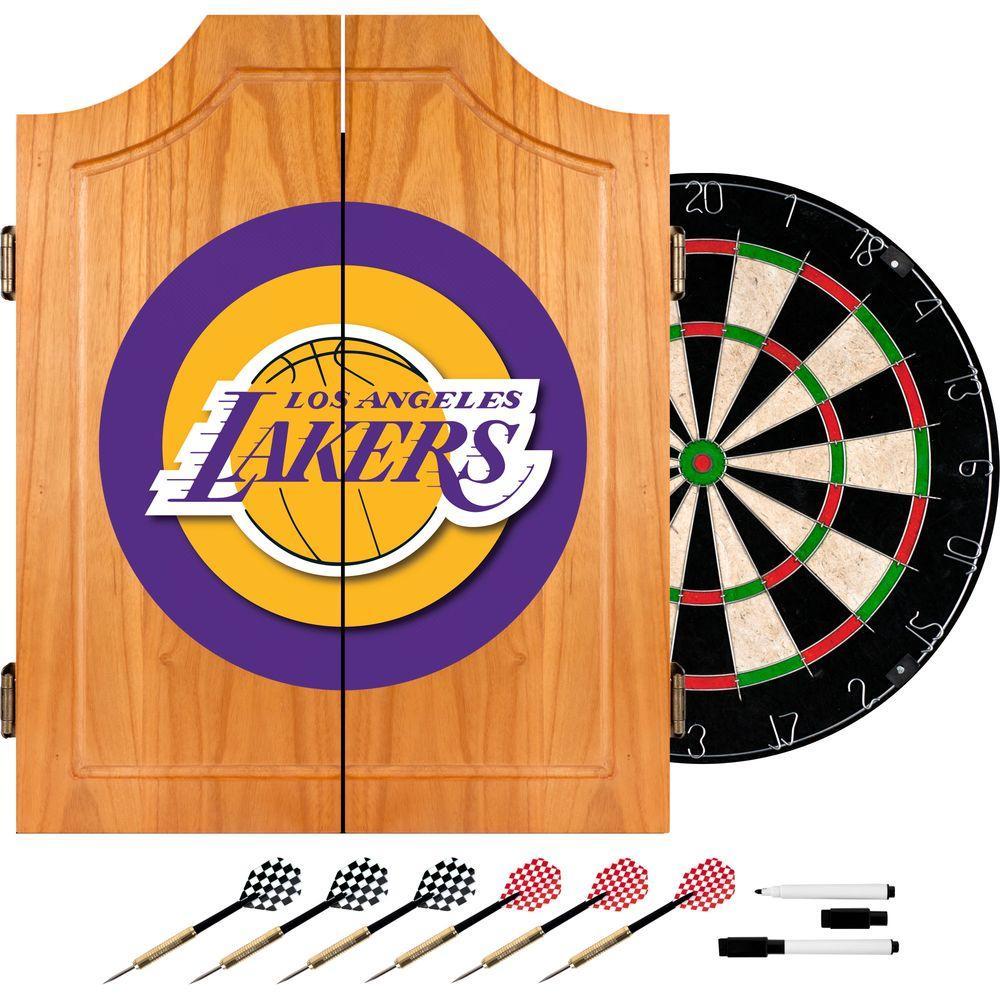 NBA Los Angeles Lakers Wood Finish Dart Cabinet Set