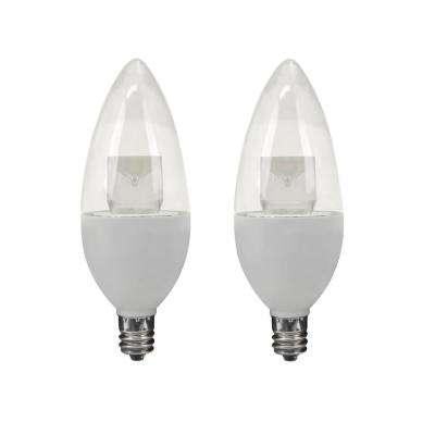 40W Equivalent Soft White B10 Dimmable LED Light Bulb (2-Pack)