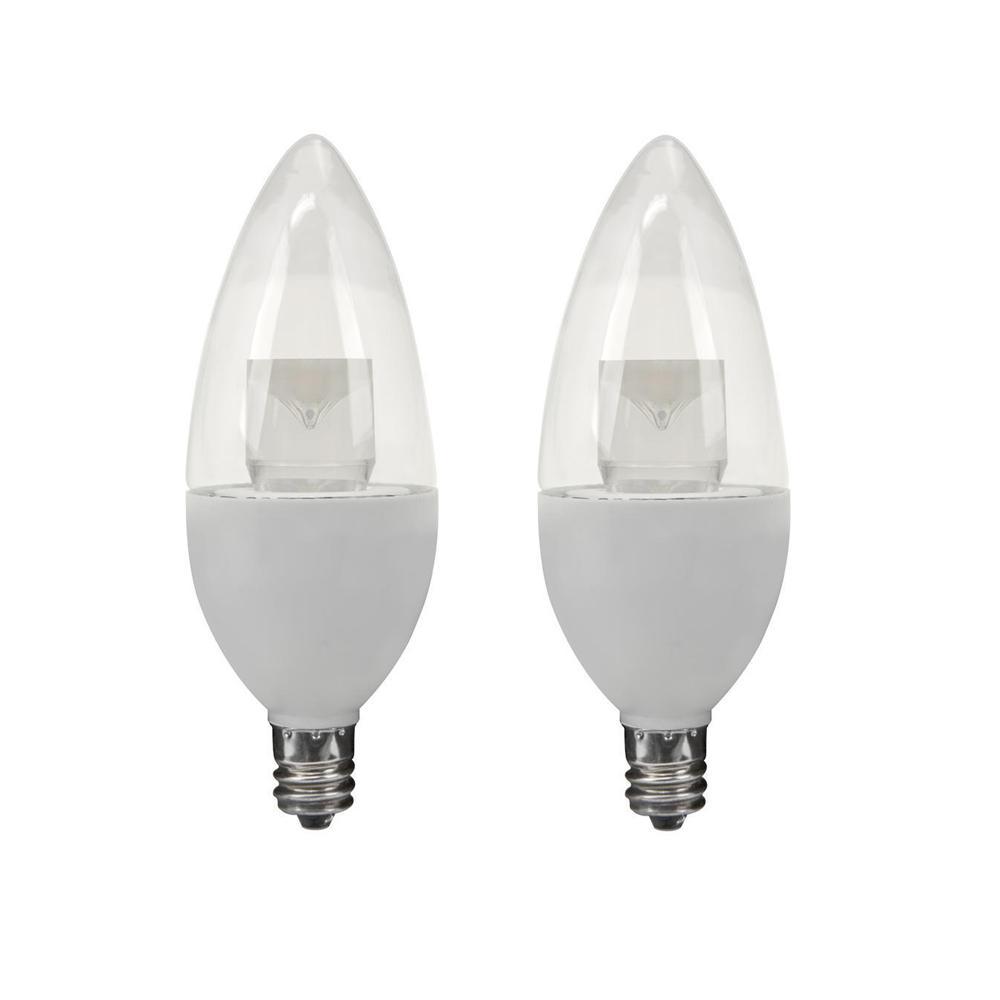40-Watt Equivalent Soft White B10 Dimmable LED Light Bulb (2-Pack)