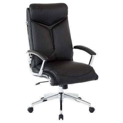 Executive Faux Leather High Back Chair with Padded Arms and Chrome Base