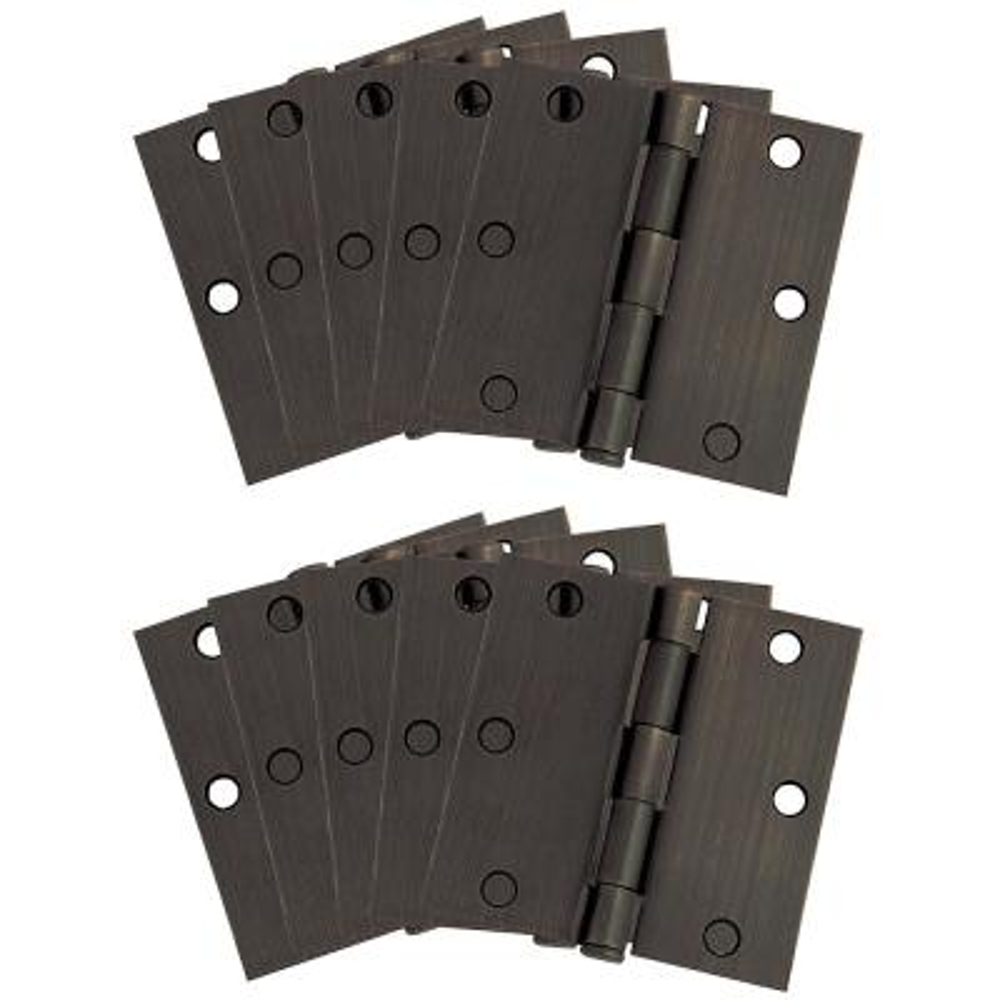 3-1/2 in. Square Corner Oil Rubbed Bronze Door Hinge Value Pack (10 per Pack)