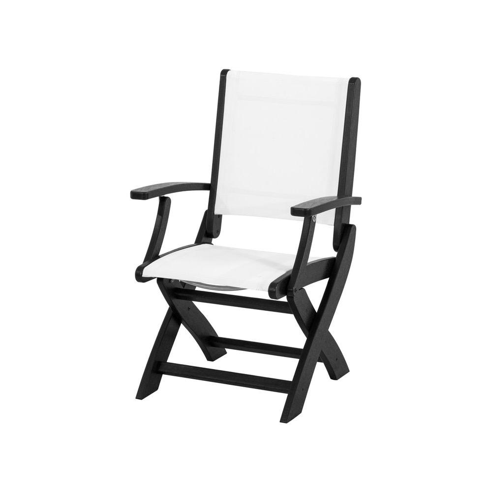 Coastal Black Patio Folding Chair with White Sling