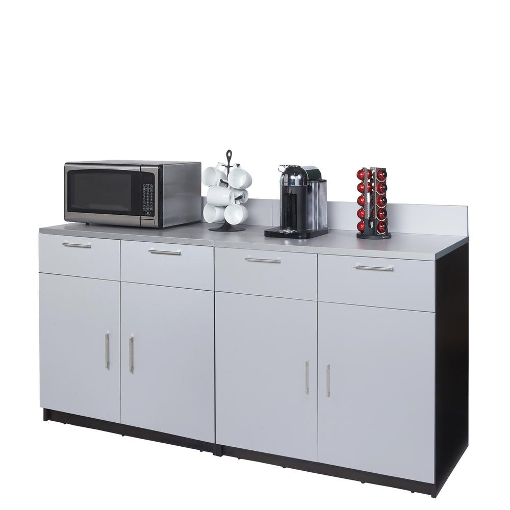Coffee Kitchen Espresso and Silver Sideboard with Lunch Break Room Functionality