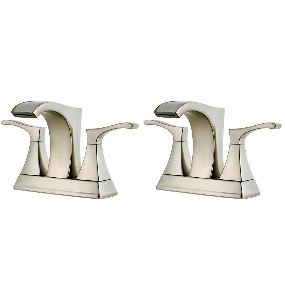 Pfister Venturi 4 in. Centerset 2-Handle Bathroom Faucet in Spot Defense Brushed Nickel (2-Pack Combo)
